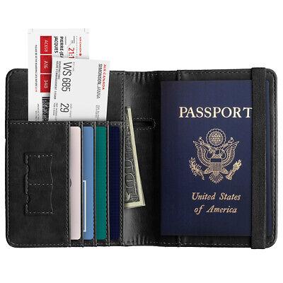 RFID Blocking Slim Leather Travel Passport Holder Credit Card Wallet Case Cover 2