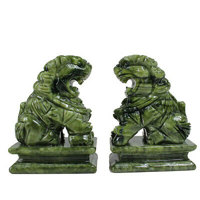 1 Pair China Green Jade Carved Fengshui Foo Fu Dog Guard Door Lion Home Decor 5