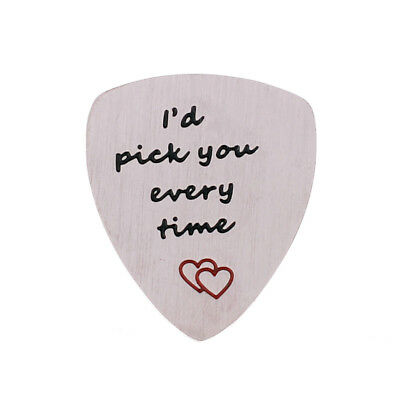 Stainless Steel Engraved Guitar Pick Plectrum GUITARIST BIRTHDAY GIFT Family 3