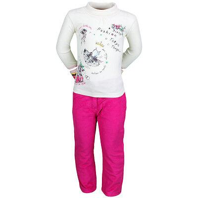 Ensemble Enfant Vetements Hiver Fille Pantalon Rose Fonce + Gilet + T Shirt