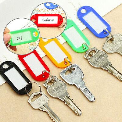50X Plastic Key Tags Metal Ring Luggage Card Name Label Keychain W/ Split Ring 6