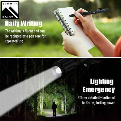 Tactical Pen Emergency Steel Knife Glass Breaker Survival LED Flashlight 5