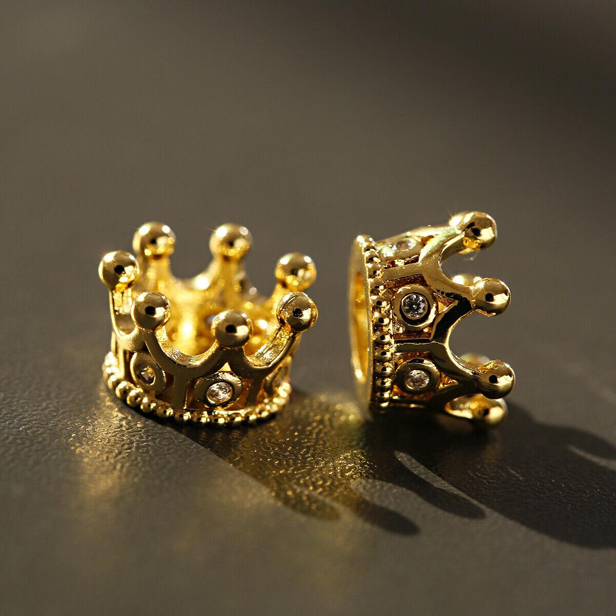 Zircon Gemstones Pave Queen Crown Bracelet Brass Copper Connector Charm Beads 8
