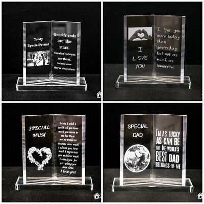 Engraved Glass Friendship Book Plaque with LED Light Gift Boxed Friend Gift Love