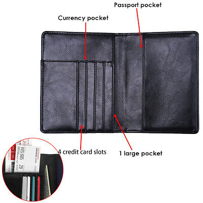 PU Leather RFID Blocking Passport Travel Wallet Holder ID Cards Cover Case