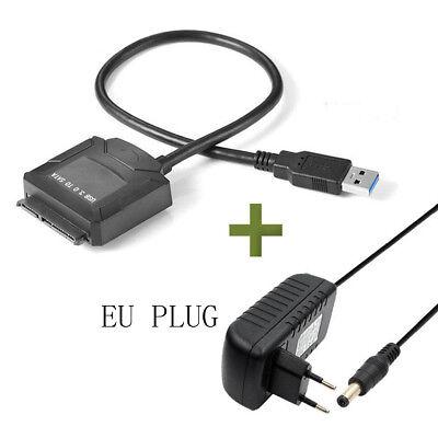 USB3.0 to 2.5 3.5 IDE SATA Hard Drive HDD SDD Converter Adapter PC Cable EU Plug 2