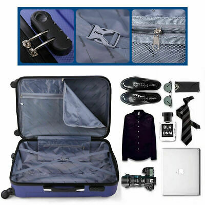 3 Piece Luggage Set Travel Trolley Suitcase ABS+PC Nested Spinner w/ Cover Blue 7