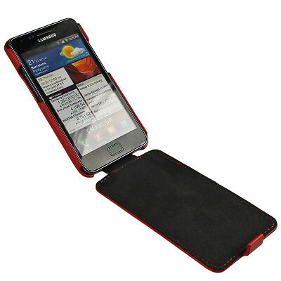 Red Leather Case Cover for Samsung i9100 Galaxy S2 II Android Smartphone Holder 2