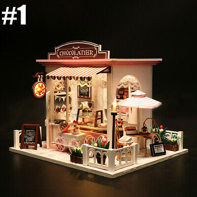 Mini DIY LED Wooden Dollhouse Miniature Wooden Furniture Kit Doll House 3