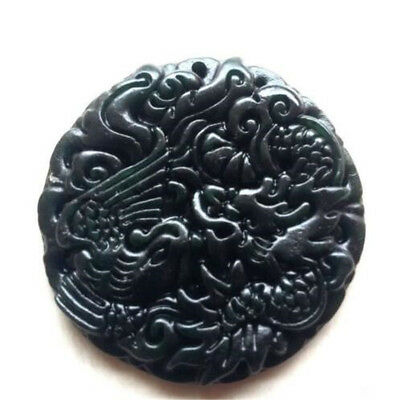 Chinese Natural Black Green Jade Pendant Dragon&Phoenix Good Lucky Amulet Gift 3