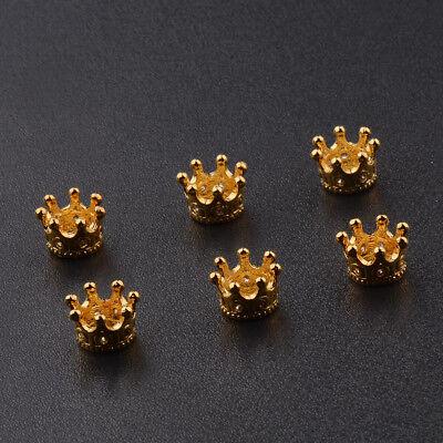 Zircon Gemstones Pave Queen Crown Big Hole DIY Bracelets Connector Charm Beads 7