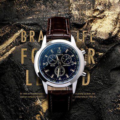 Military Leather Stainless Steel Quartz Analog Army Men's Quartz Wrist Watches 2