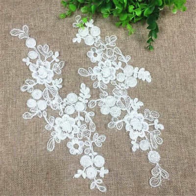 1 Pair Embroidery DIY Lace Applique Sewing Wedding Dress Trim Craft Patch Decor 4