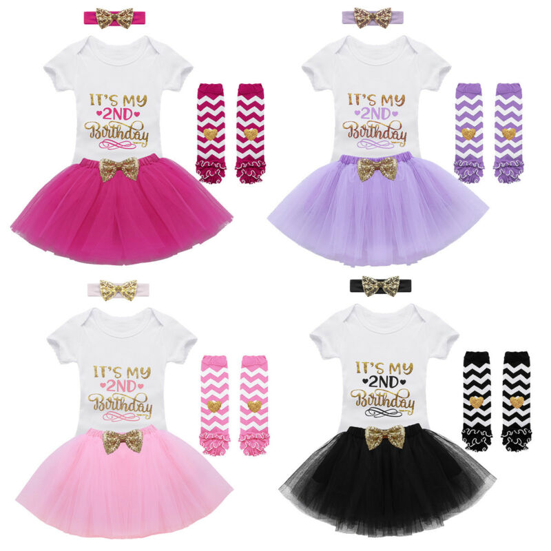 4PCS Baby Girls 2nd Birthday Outfit Party Romper Skirt Cake Smash Tutu Dress Set 3 Of 4 See More