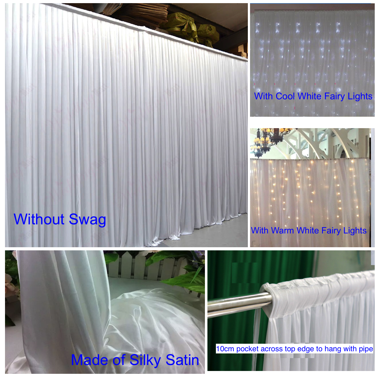 Wedding Party Stage Backdrop Swag Drape Sheer Satin Curtain Photo Background NEW 4