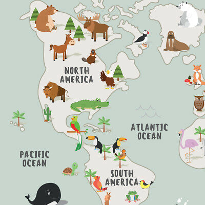Children's A1 Animal Map of the World Large Poster Print Wall Art for Kids Room 7