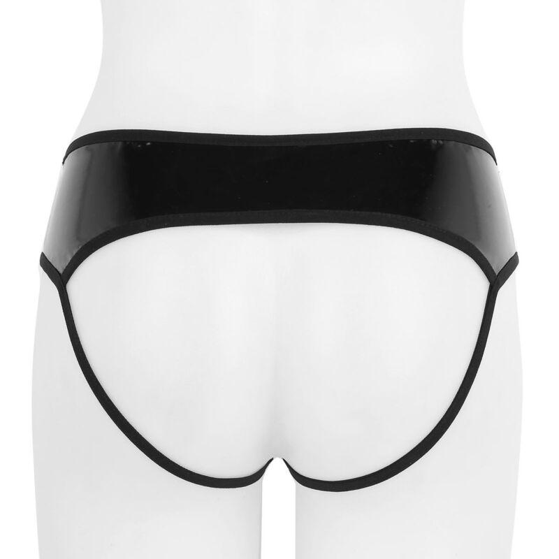 Damen Wetlook Ouvertslip Leder-Optik Bikini Slips Jockstrap Unterwäsche Sexy 6