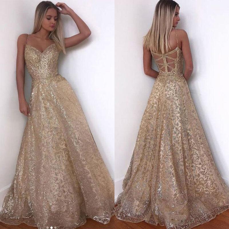 best quality 94daa 3fbe5 DAMEN TRÄGERKLEID GLITZER Abendkleid Brautjungfern Hochzeit Ballkleid Lang  Kleid