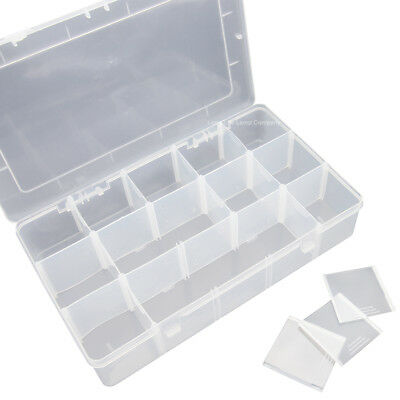 10//15//24//36 Compartment Organiser Storage Box Nut Beads Jewellery Craft Nail Art