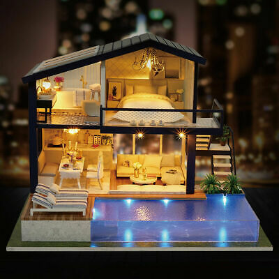 AU DIY LED Music Dollhouse Miniature Wooden Furniture Kits Doll House Xmas Gift 4