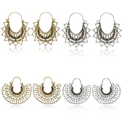 Retro Vintage Antique Mesh Hollow Out Filigree Geometric Hoop Earrings For Women 9