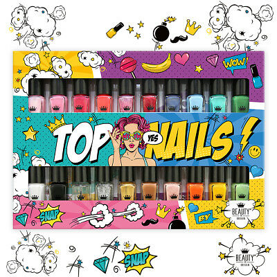 Set of 20 Nail Polish Varnish 20 Different Colours Luxury Box + 2 Bookmarks UK 4