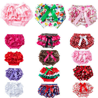 Newborn Baby Girls Ruffle Bloomers Layers PP Pants Diaper Cover Shorts Skirts 2