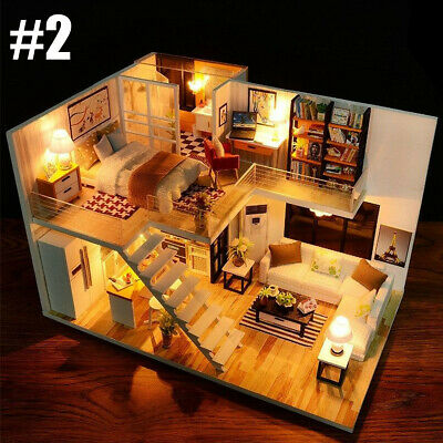 Mini DIY LED Wooden Dollhouse Miniature Wooden Furniture Kit Doll House 4