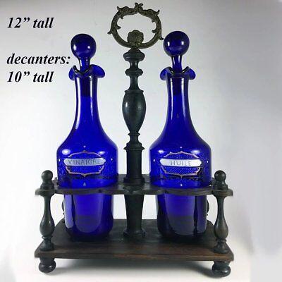 Antique French Enameled Cobalt Blue Glass Oil, Vinegar, in Original Wood Stand 8