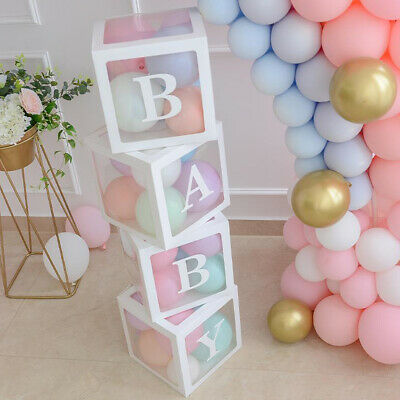 4Pc Boy Girl Baby Shower Party Decorations Transparent Cardboard Box  Xmas Gift 2