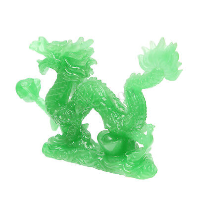 Green Jade Chinese Feng Shui Dragon Figurine Craft Statue for Luck & Success 4