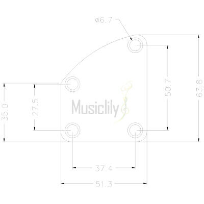 Musiclily Chrome 4 Holes Curved Neck Plate with Screws For Electric Guitar Bass 3