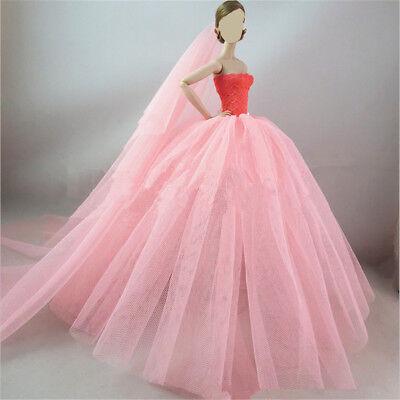 Handmade Royalty Princess Dress/Wedding Clothes/Gown + veil for Barbie Doll 5