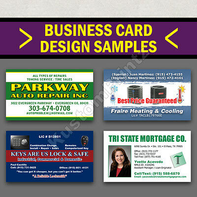 1000 Full Color Business Cards W/ Your Artwork Ready To Print - 2 Sided Glossy 3