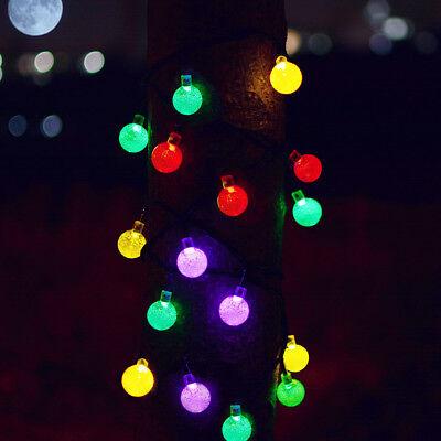 Solar Garden Fairy String 100 200 LED Light Rain Drop Crystal Bulb Outdoor Party 8