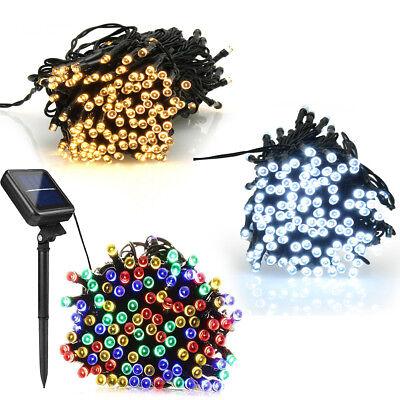 Solar Garden Fairy String 100 200 LED Light Rain Drop Crystal Bulb Outdoor Party 3