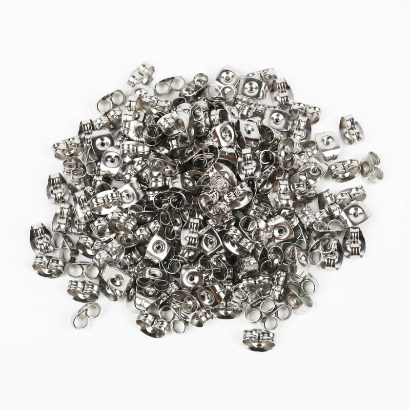 200pcs Flat Stud Earring Post 6/8mm Pads and backs Hypoallergenic Surgical Steel 7