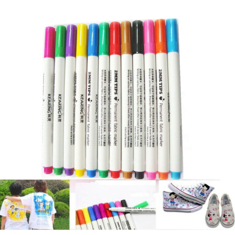 12x Multi-color DIY T-Shirts Shoes Clothes Tip Fabric Textile Paint Marker Pens
