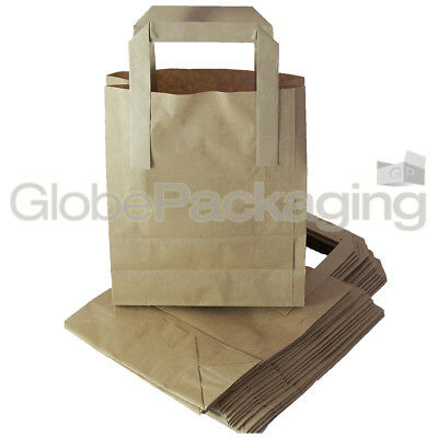 "100 SMALL BROWN KRAFT PAPER CARRIER SOS BAGS 7x3.5x8.5"" 2"