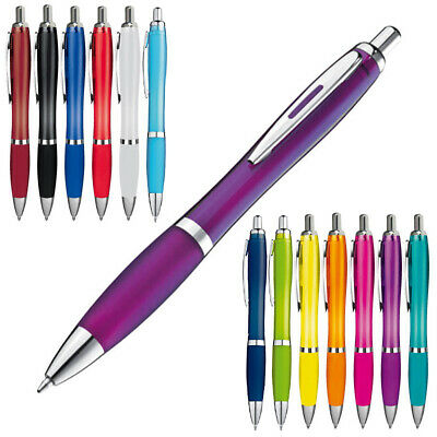 Transparente Druckkugelschreiber im Set mit 10/20/50/100/500 Stück- 14 Farben 6