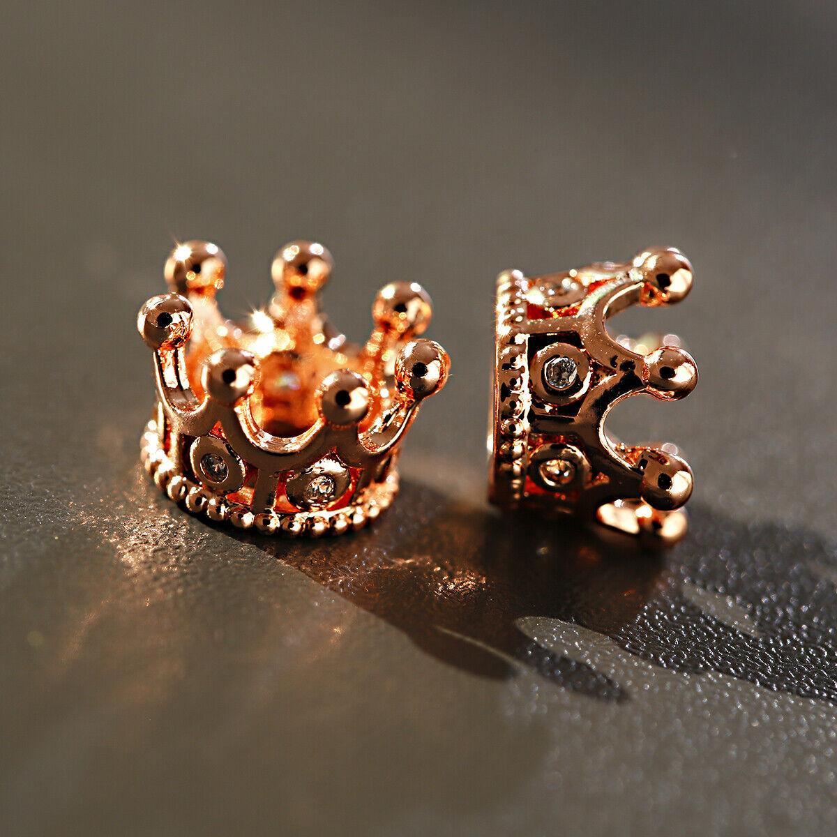 Zircon Gemstones Pave Queen Crown Bracelet Brass Copper Connector Charm Beads 10
