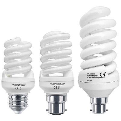 2 x Energy Saving 25W Spiral Light Bulb CFL B22 Bayonet 25W = 125W Warm or Cool