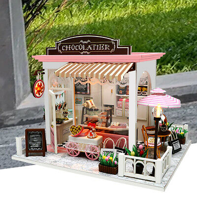 Doll House Wooden Dollhouse Miniature Assembling 3D Puzzle Toy DIY Kit LED Light 3
