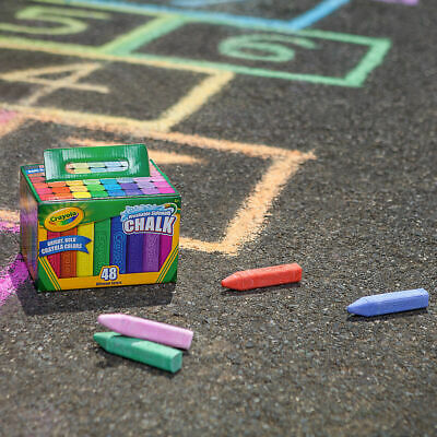 Crayola Sidewalk Washable Anti-Roll Coloured Chalks -48 Pieces in bright Colours 4