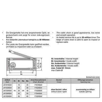 1M, Energiekette 15x20mm,R28,aussenseitg zu öffnen - Schleppkette -Kabelführung