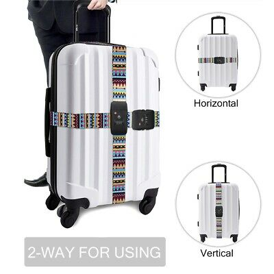 2m TSA 3Digit Customs Password Lock Luggage Belt Adjustable Travel Luggage Strap 4