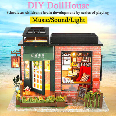 DIY Wooden Assemblin Toy Model Doll House Miniature Kit Bookstore Birthday Gift 2