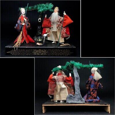 2 Antique NINGYO Japanese Dolls TAKASAGO HINA Old Japanese Couple 9