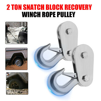 Heavy Duty Winch Snatch Block Pulley Off Road-Recovery 2 Ton Tonne Black 4x4 UK