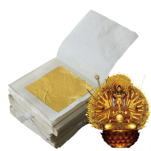 10pcs Pure 24K Edible Gold Leaf Sheets For Cooking Framing Art Craft Decorating 7